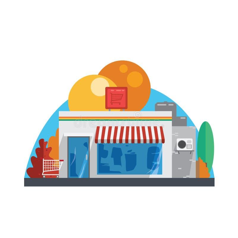 Mini- marknad vektor illustrationer