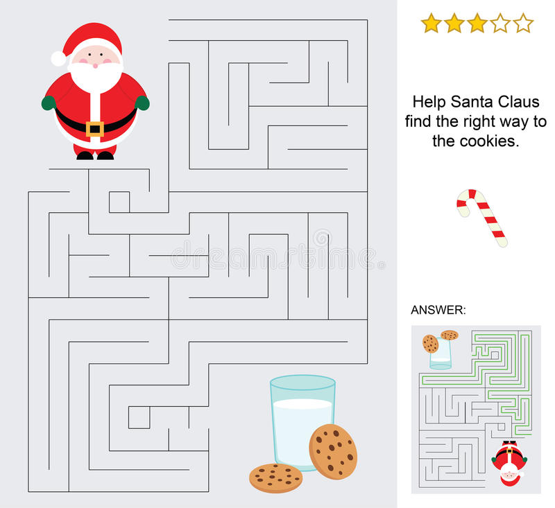 Mini maze for kids with santa claus and cookies. A simple and funny maze to children complete with the solution. You have to make the path for the santa claus vector illustration
