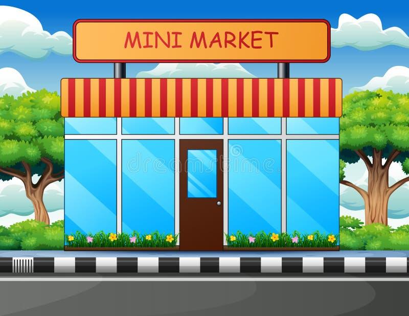 Mini mercado que construye al aire libre con los árboles, el cielo y la nube stock de ilustración