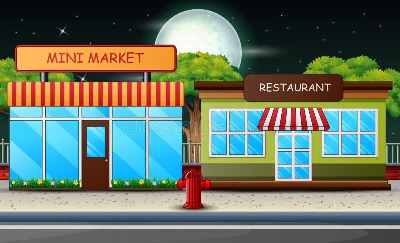 Mini mercato e ristorante che costruiscono all'aperto nella scena di notte illustrazione vettoriale