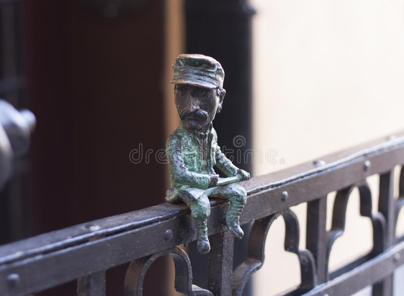 Mini metal sculpture of Nikolai Shugai photo in Uzhgorod, Ukraine - April 2, 2017 stock photography
