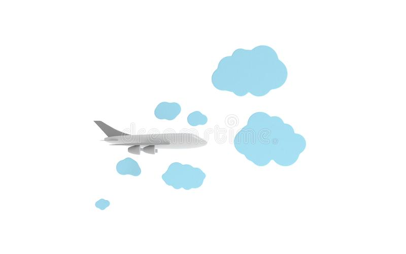 Airplane model in the Paper Clouds stock illustration