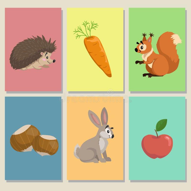 Mini- modiga kort Gulliga djur och deras mat Igelkott, äpple, ekorre och hasselnötter, harekanin och morot Bildande illust royaltyfri illustrationer