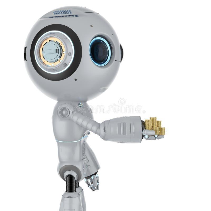 Mini monedas de oro del control del robot ilustración del vector