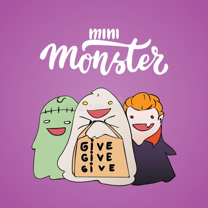 Mini mostro - l'iscrizione del partito di Halloween e la carta disegnate a mano di schizzo con i bambini si sono vestite in un co royalty illustrazione gratis