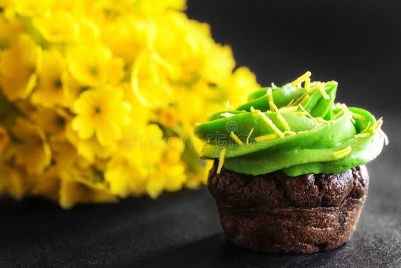 Mini- muffin för choklad med gräddostgräsplanglasyr på kaka royaltyfria foton
