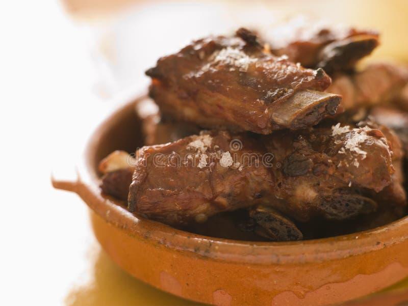 Mini nervature di porco arrostite col barbecue fotografia stock libera da diritti