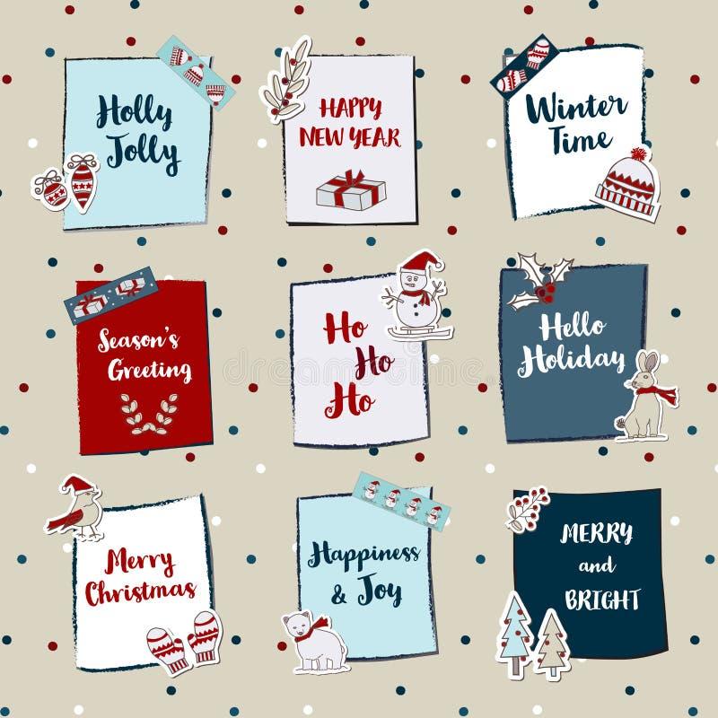 Mini Noël de note de Noël peu de bénédiction de note avec mignon illustration libre de droits