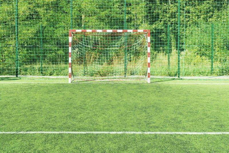 Mini objetivo vazio do futebol fotografia de stock royalty free