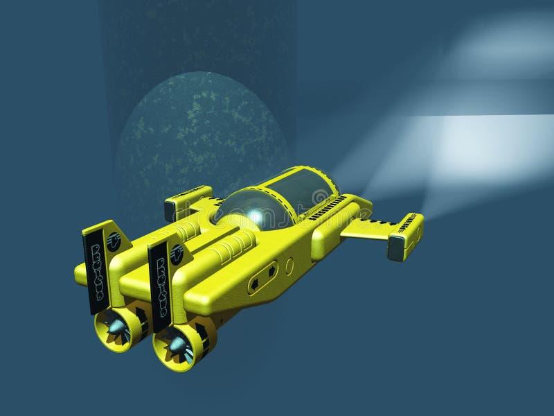 Mini onderzeeër onder booreiland royalty-vrije illustratie