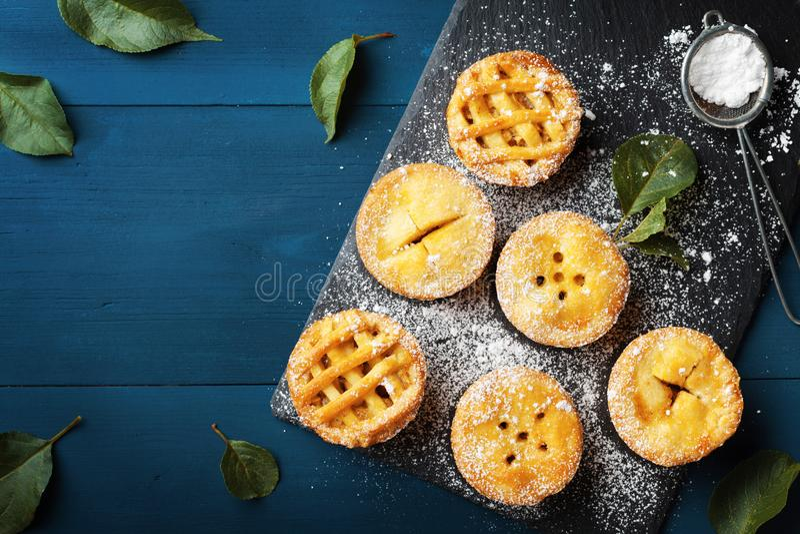 Mini opinião superior diferente de tortas de maçã Sobremesas da pastelaria do outono imagens de stock