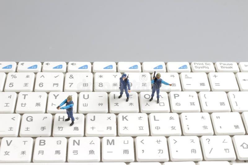 mini pacnięcie oddziału chronienia klawiatura obraz stock