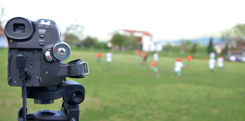 Mini partita di calcio della registrazione della macchina fotografica del dv immagini stock