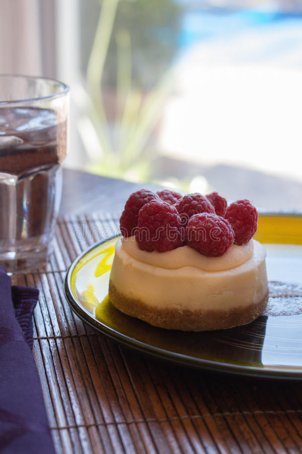 Mini pastel de queso de la frambuesa imagen de archivo