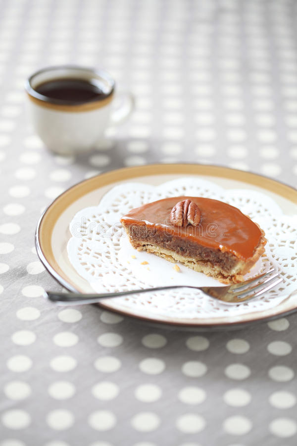Download Mini Pecan Pie With Caramel Topping On A Plate With A Cup Of Coffee Stock Image - Image: 39496725