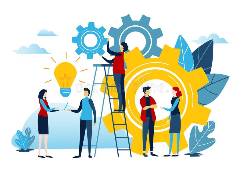 Mini people create idea to success. Business illustration vector graphic on white background. Flat cartoon miniature character. Mini people create idea to vector illustration