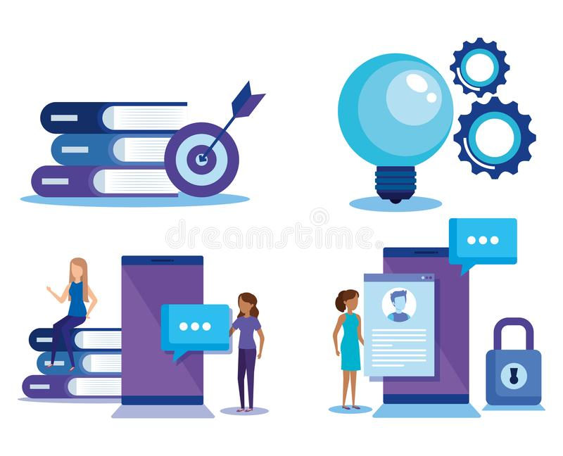 Mini people with electronic devices. Vector illustration design stock illustration