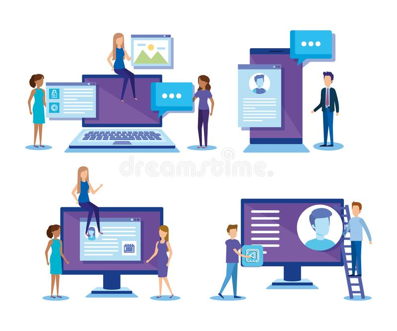 Mini people with electronic devices. Vector illustration design vector illustration