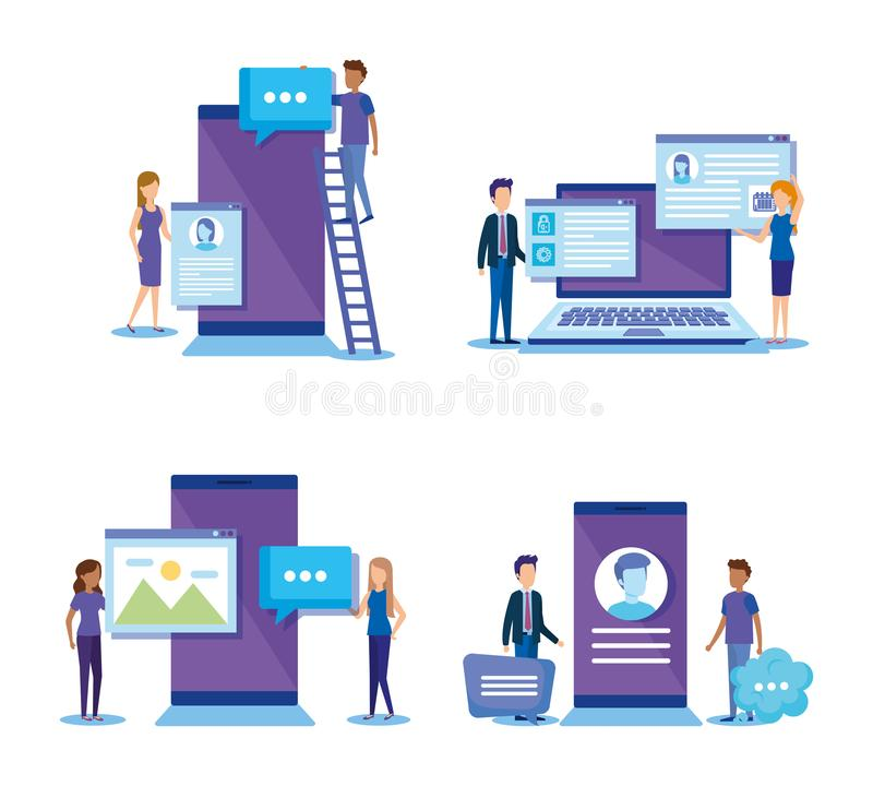 Mini people with electronic devices. Vector illustration design royalty free illustration
