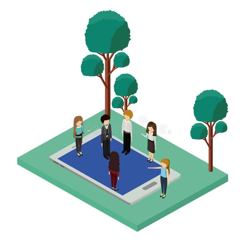 Mini people with forest scene and smartphone stock illustration