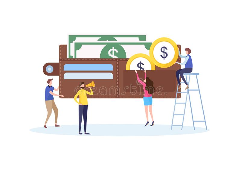 Mini people`s hold the money to big wallet, Investment, Saving, Economy. Business financial concept. Flat cartoon vector stock illustration