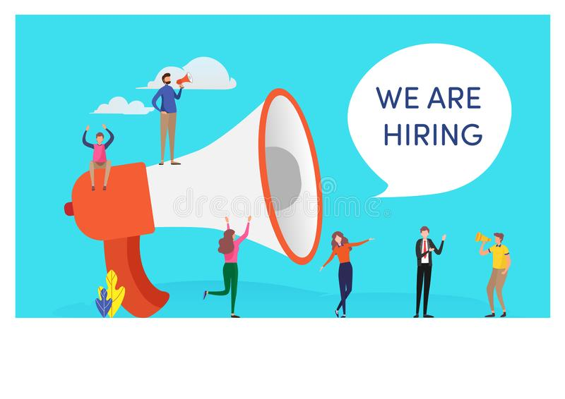 Mini peoples and megaphone say we are hiring word. People vector illustration. Flat cartoon character graphic design. Landing page template,banner,flyer,poster vector illustration