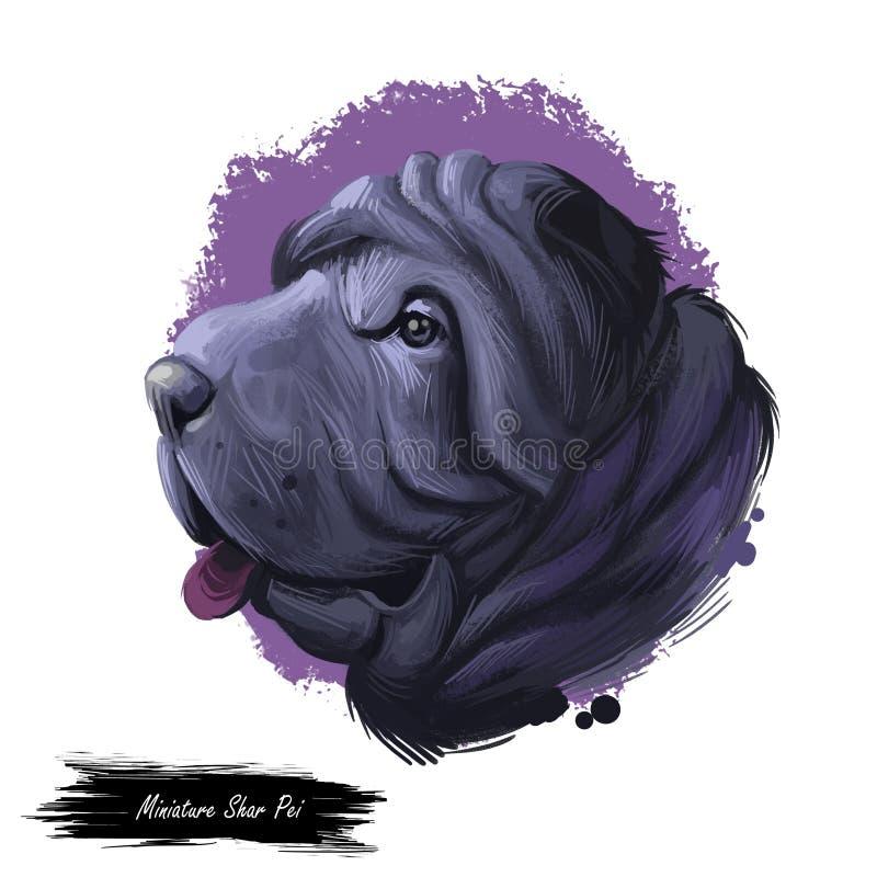 Mini perro shar miniatura del pei, ejemplo digital del arte del retrato del perfil Animal doméstico criado del gen recesivo del s libre illustration