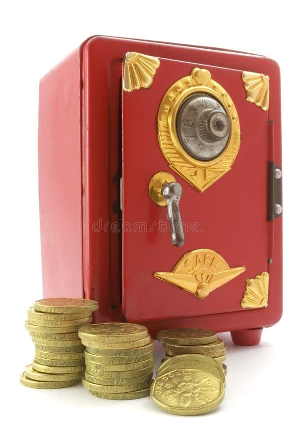 Mini pièces d'or de coffre-fort et photos libres de droits