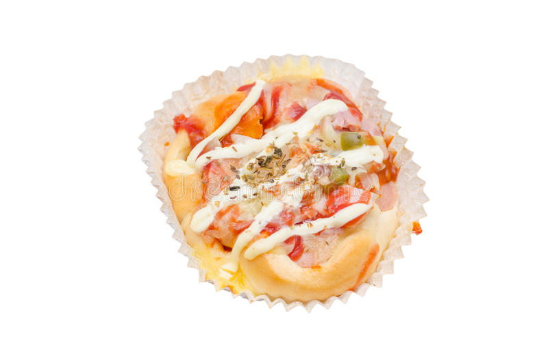 Mini pizza sopra bianco fotografia stock libera da diritti