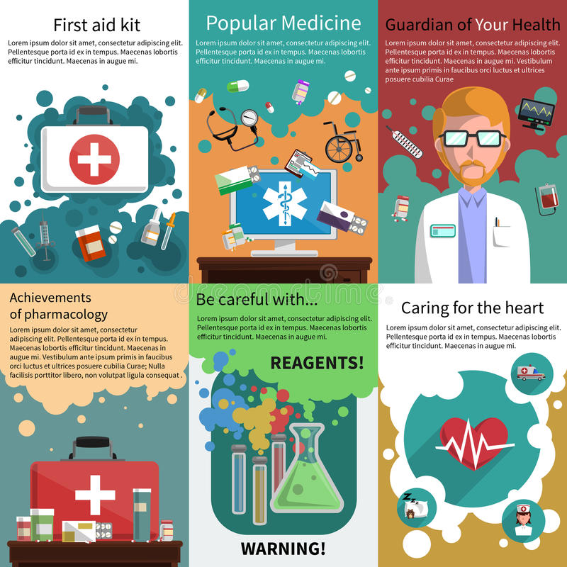 Mini plakat muliticolored medycyna set ilustracji
