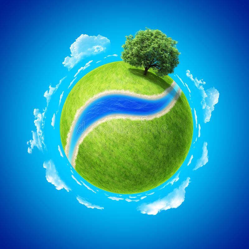 Mini planet concept green planet stock illustration