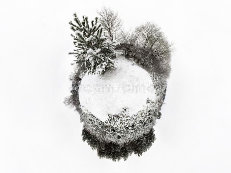 Mini planet Earth. Little planet earth with 360 viewing angle. Globe panorama of world.Winter little planet with trees and snow. royalty free stock image