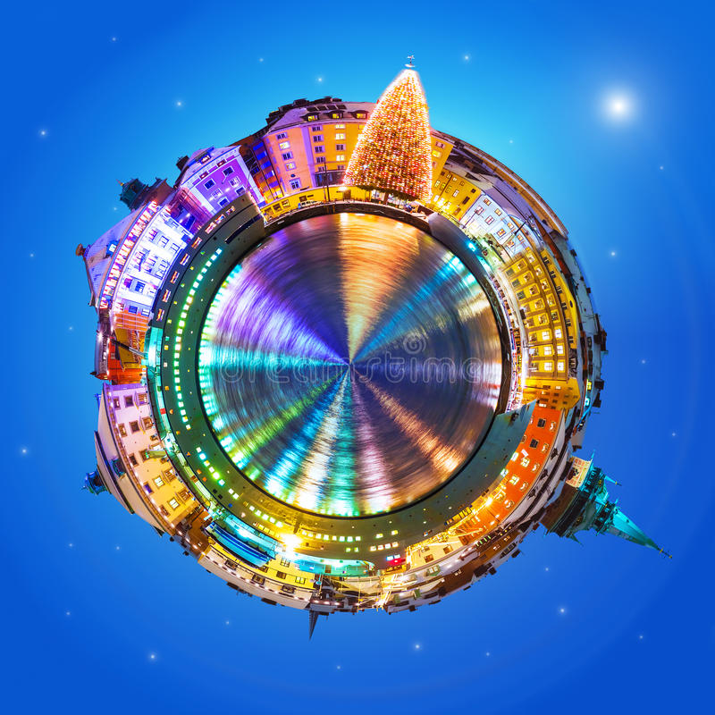 Mini planet with Stockholm, Sweden in Christmas and New Year holidays royalty free stock photos