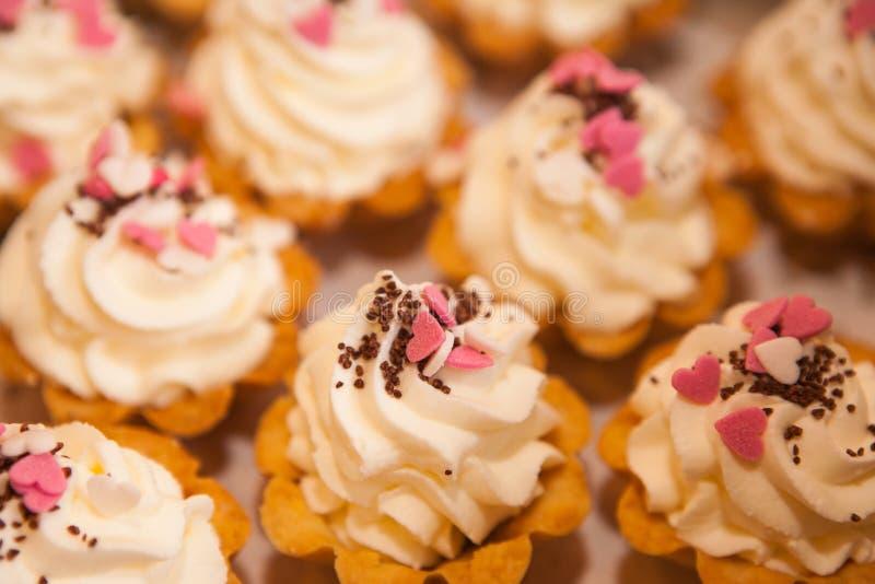 Mini podparci torty z batożącą białą miękką śmietanką z różowymi dekoracjami, czekoladowi chipsy fotografia royalty free