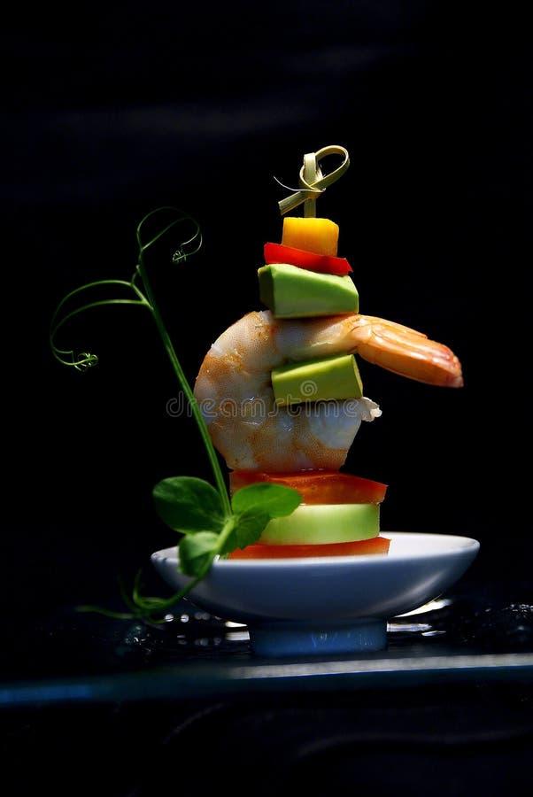 Mini prawn skewer royalty free stock photos