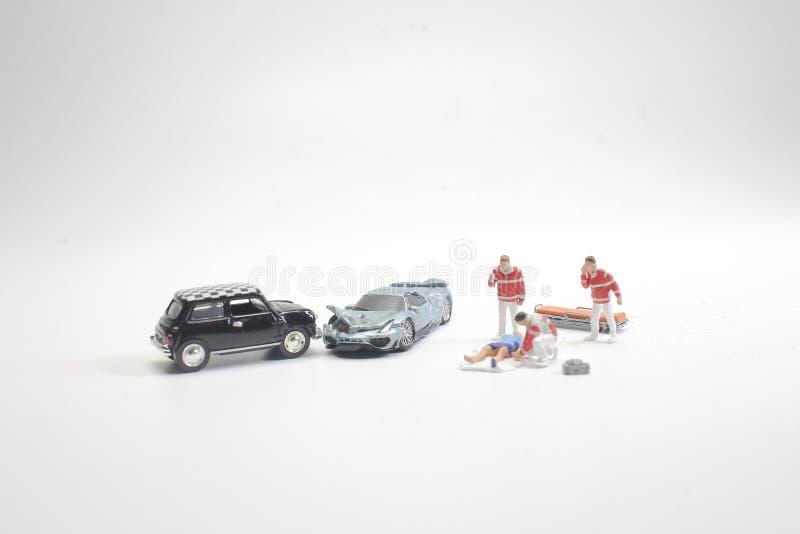 mini przedstawia wypadek śmiertelny na drodze zdjęcie stock