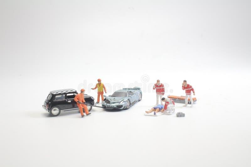 mini przedstawia wypadek śmiertelny na drodze fotografia royalty free