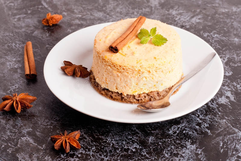 Mini Pumpkin Cheesecakes foto de archivo