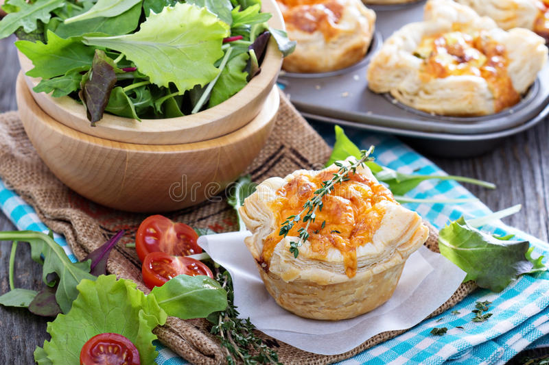 Mini quiche with puff pastry royalty free stock images