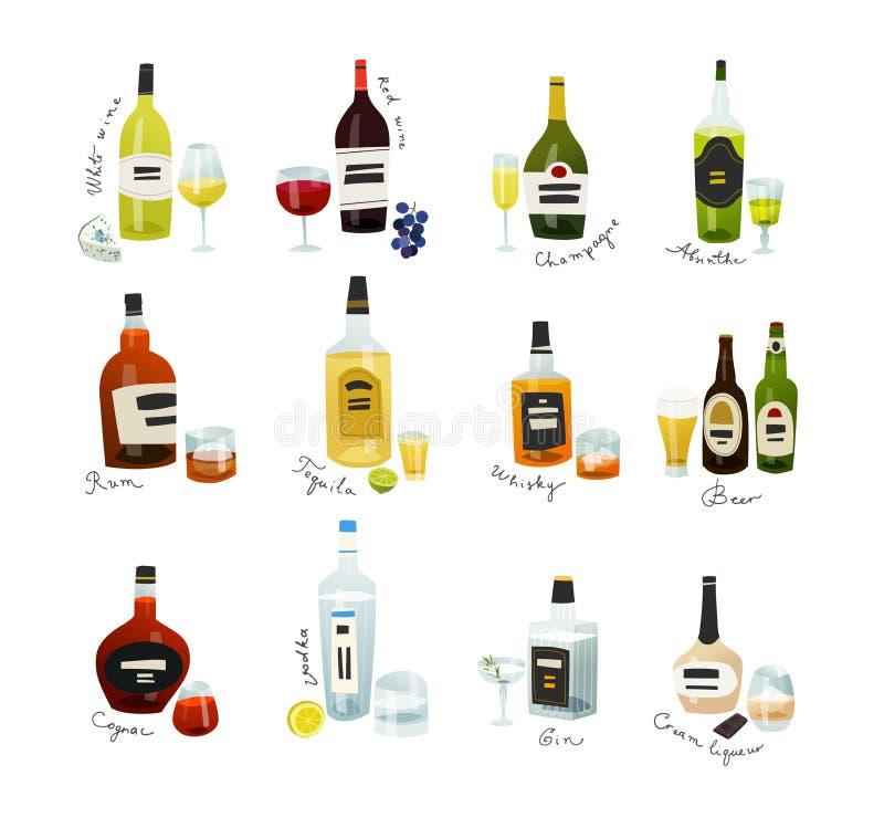 Mini raccolta di bottiglie Bevande dell'alcool messe nello stile piano di progettazione royalty illustrazione gratis
