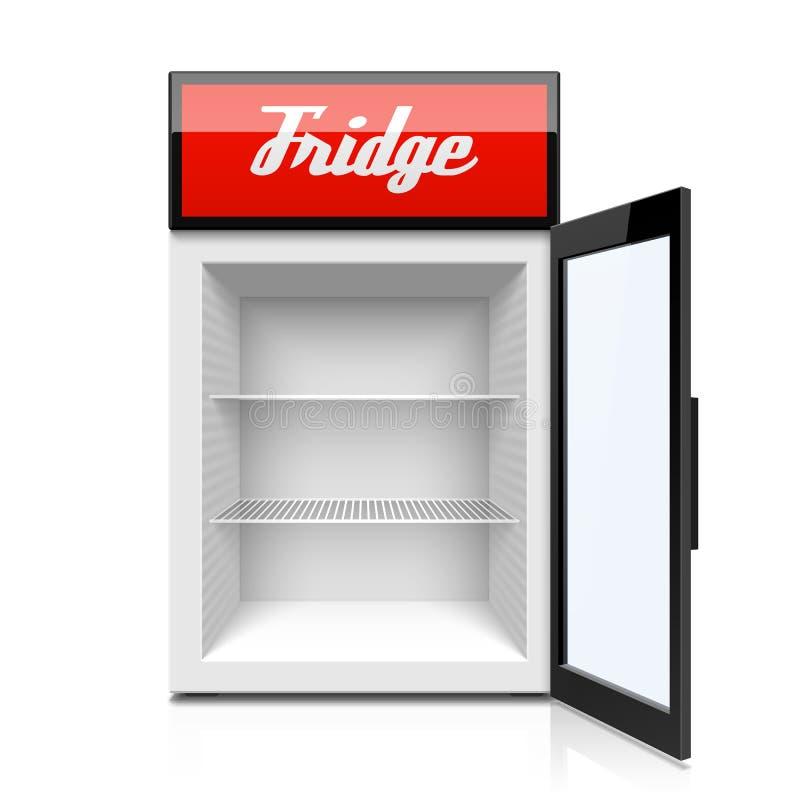 Mini refrigerador con la puerta abierta stock de ilustración