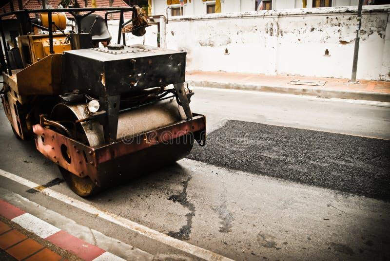 Mini Road Rollers During Asphalt Paving Works Stock Image