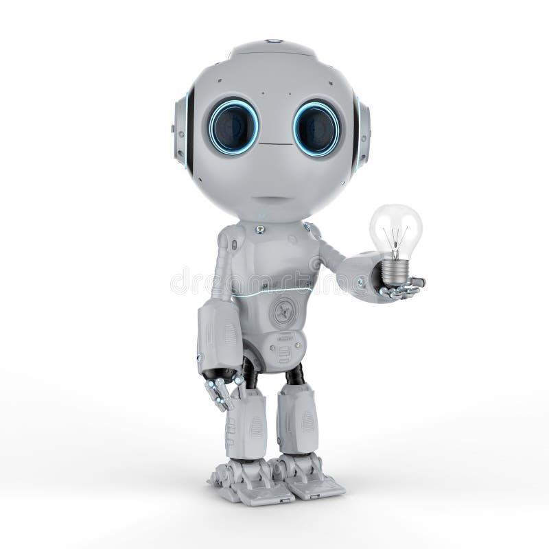 Mini robô com ampola ilustração royalty free