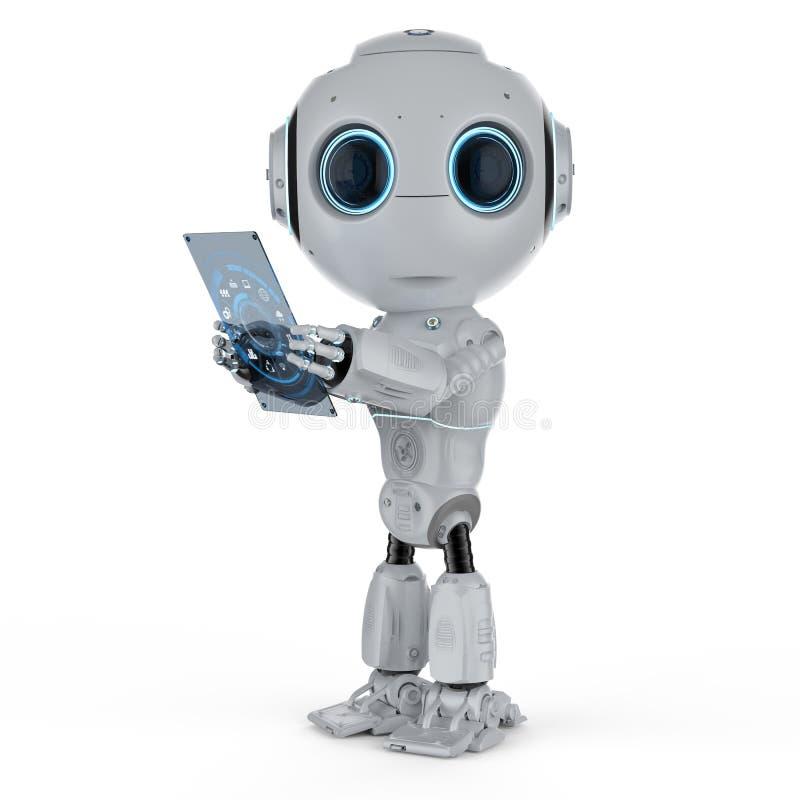 Mini robô com tabuleta ilustração stock