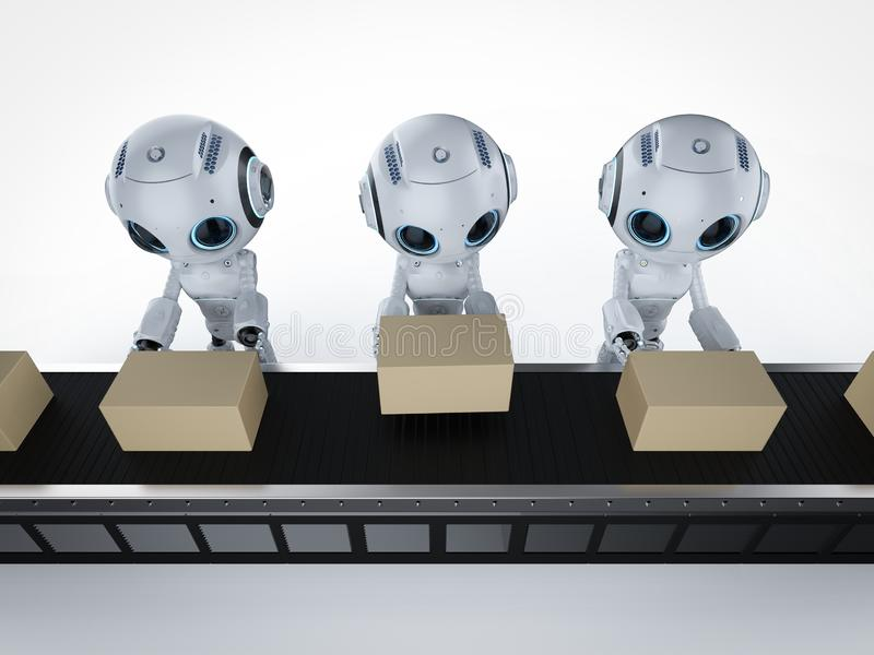 Mini robot avec des boîtes illustration libre de droits