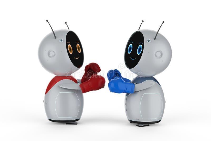 Mini robot avec des gants de boxe illustration de vecteur