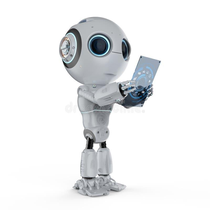 Mini robot avec le comprimé illustration stock