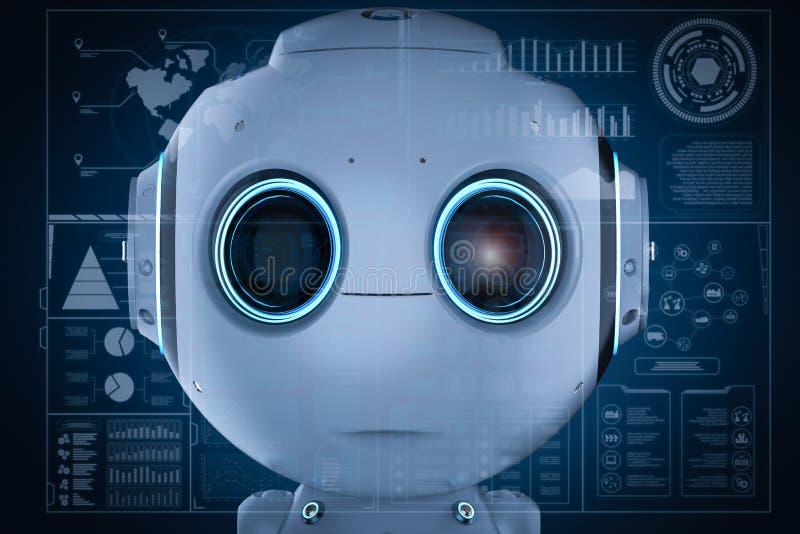 Mini robot con hud illustrazione di stock