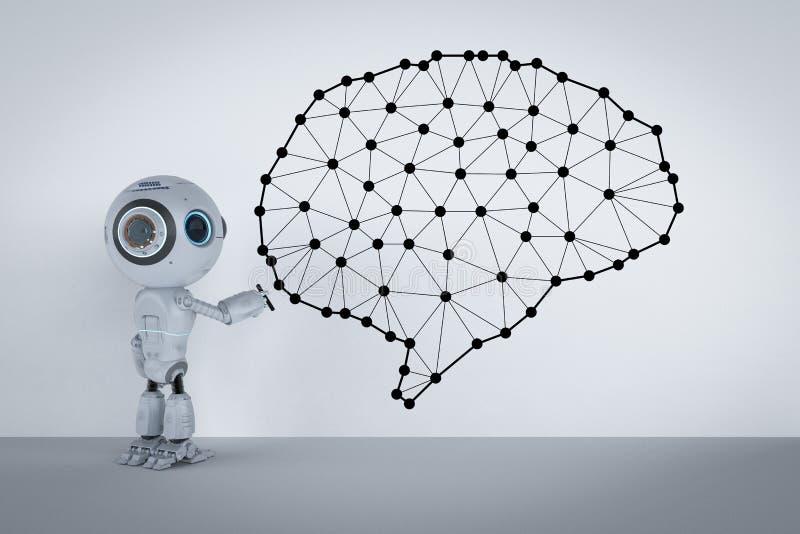 Mini robot con il cervello fotografia stock