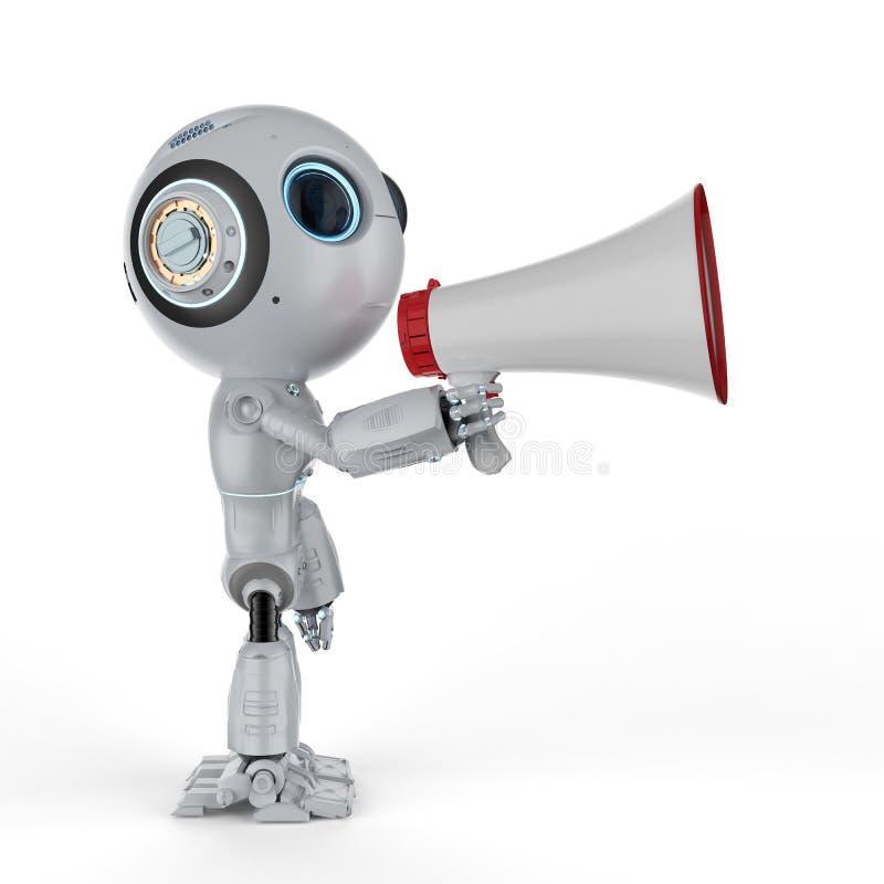 Mini robot con il megafono royalty illustrazione gratis